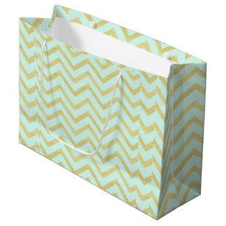 Mint Gold Chevron Gift Bag