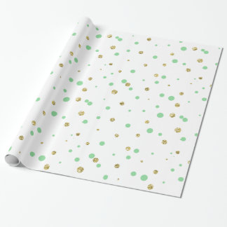 Mint Gold Confetti Dots Wrapping Paper
