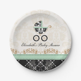 Mint Gold Damask Carriage Baby Shower 7 Inch Paper Plate