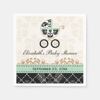 Mint Gold Damask Carriage Baby Shower Disposable Napkins