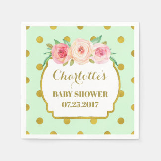 Mint Gold Dots Blush Floral Baby Shower Paper Napkin