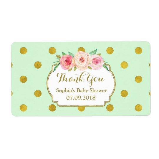 Mint Gold Dots Floral Baby Shower Labels