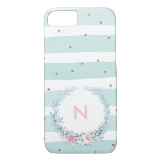 Mint & Gold Floral Monogram Phone Case