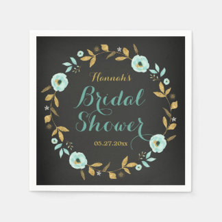 Mint Gold flower Chalkboard Bridal Shower Napkins Disposable Serviettes