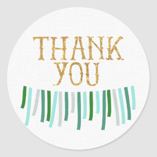 Mint Gold Green Ribbon Banner Thank You Sticker