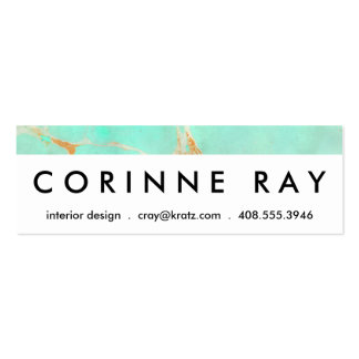 Mint Gold Marble Abstract Aqua Teal Painted Look Business Card Templates