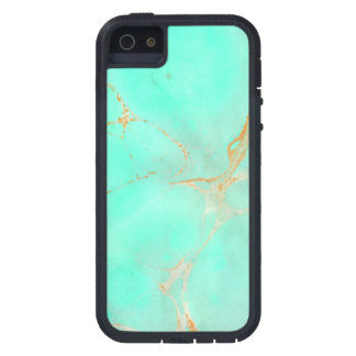 Mint Gold Marble Abstract Aqua Teal Painted Look iPhone 5/5S Case