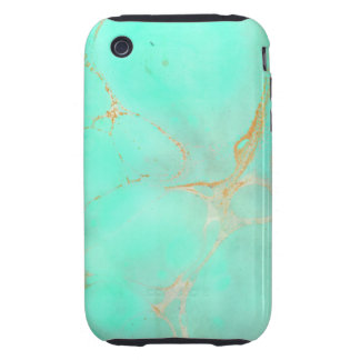 Mint Gold Marble Abstract Aqua Teal Painted Look iPhone 3 Tough Covers