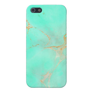 Mint Gold Marble Abstract Aqua Teal Painted Look Cover For iPhone 5/5S