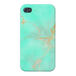 Mint Gold Marble Abstract Aqua Teal Painted Look iPhone 4/4S Case