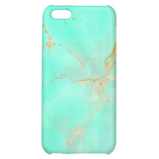 Mint Gold Marble Abstract Aqua Teal Painted Look Case For iPhone 5C