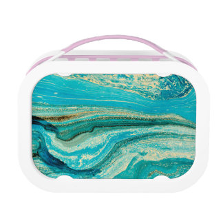 Mint,gold,marble,nature,stone,pattern,modern,chic, Lunch Box