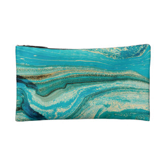 Mint,gold,marble,nature,stone,pattern,modern,chic, Makeup Bag