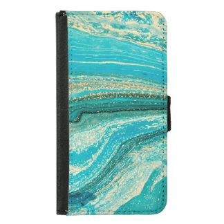 Mint,gold,marble,nature,stone,pattern,modern,chic, Samsung Galaxy S5 Wallet Case