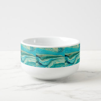 Mint,gold,marble,nature,stone,pattern,modern,chic, Soup Mug