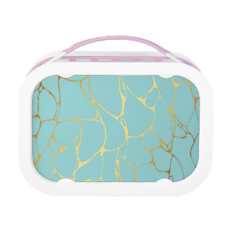 mint,gold,marbled,modern,trendy,chic,beautiful,ele lunch box