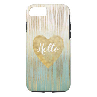 Mint Gold Ombre Stripes Heart iPhone 8/7 Case
