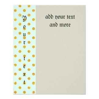 Mint,gold polka dot,trendy,girly,pattern,cute,fun, 11.5 cm x 14 cm flyer