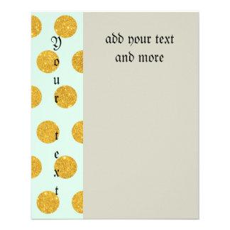 mint,gold,polka dot,trendy,girly,pattern,modern, 11.5 cm x 14 cm flyer
