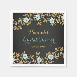 Mint Gold Wreath Chalkboard Bridal Shower Napkins Paper Napkins