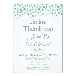 Mint Gray Birthday Invitation Confetti Watercolor