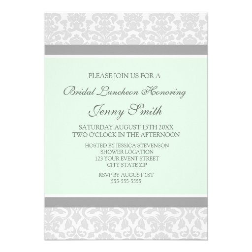 Mint Gray Damask Bridal Lunch Invitation Cards