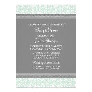 Mint Gray Damask Custom Baby Shower Invitations