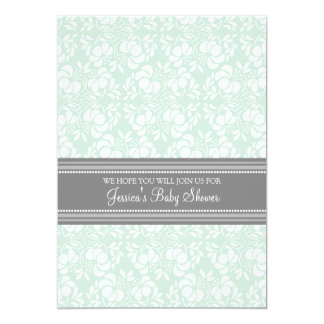 Mint Gray Damask Custom Baby Shower Invitations