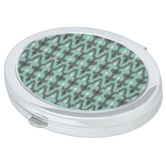 Mint Gray Geometric Ikat Tribal Decorative Pattern Compact Mirror