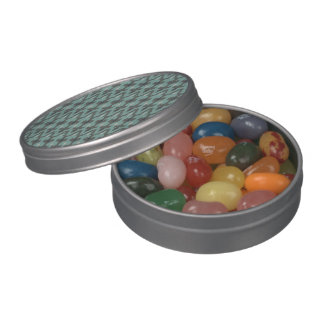 Mint Gray Geometric Ikat Tribal Decorative Pattern Jelly Belly Tins