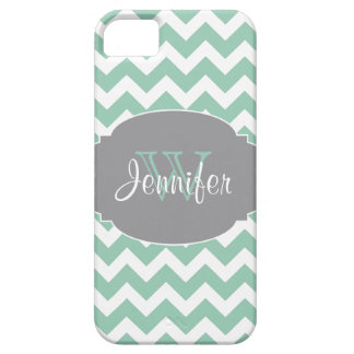 Mint & Gray Trendy Patterns monogram iPhone 5 Barely There iPhone 5 Case