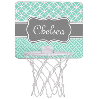 Mint Greek Key and Circle Patterns Grey Name Mini Basketball Hoop