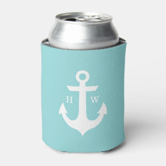Mint Green Anchor Monogram Can Cooler