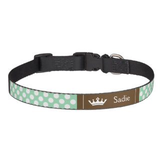 Mint Green And Brown Crown With Polka Dots Pet Collar