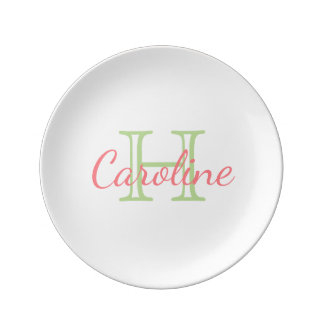 Mint Green and Coral Pink Monogram Plate