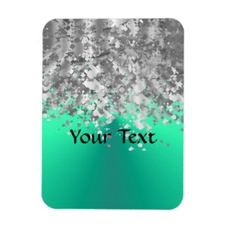 Mint green and faux glitter flexible magnet
