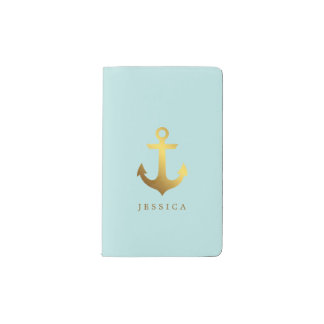 Mint Green and Faux Gold Foil Anchor Pocket Moleskine Notebook
