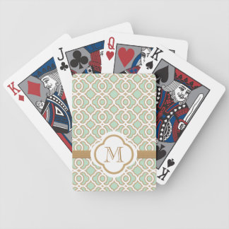 Mint Green and Gold Bicycle Playing Cards
