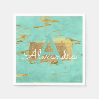 Mint Green and Gold Foil Elegant Marble Birthday Paper Napkins