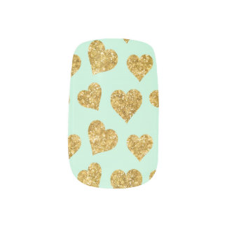 Mint Green and Gold Glitter Hearts Minx Nail Art