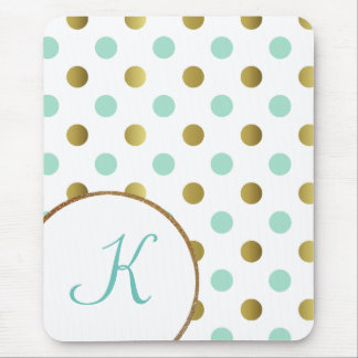 Mint Green and Gold Polka Dot Mouse Pad