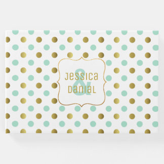 Mint Green and Gold Polka Dot Wedding Guest Book