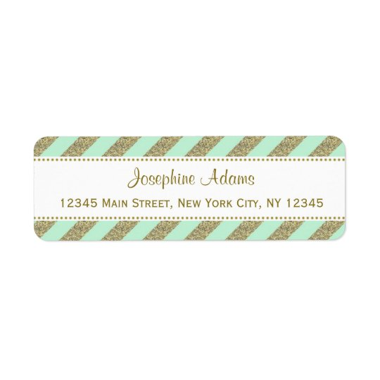 Mint Green and Gold Stripes Return Address Labels