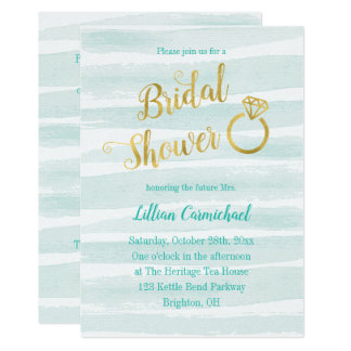 Mint Green and Gold Watercolor Bridal Shower Card