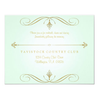 Mint Green and Gold Wedding Reception Card Custom Invitations
