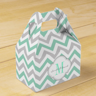 Mint Green and Gray Chevron Pattern with Monogram Party Favour Box