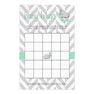 Mint Green and Gray Elephant Baby Shower Bingo Stationery