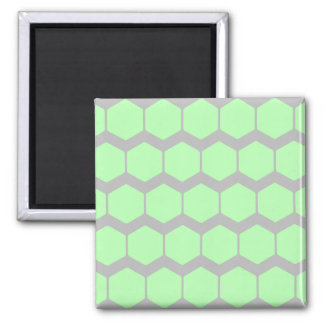 Mint Green and Gray, Retro Geometric Pattern. Square Magnet
