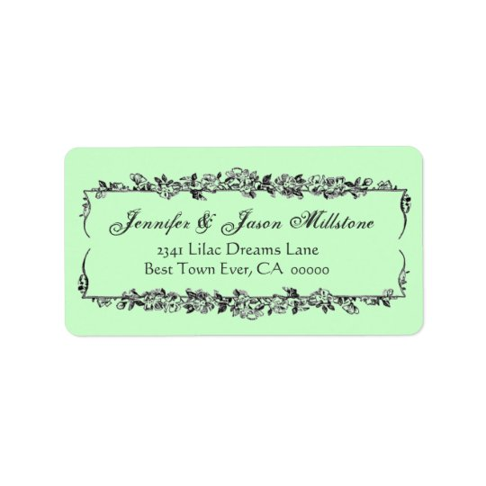 Mint Green and Grey VIntage Flowers Wedding Label