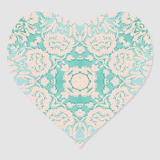 Mint Green and Ivory Embossed Damask Pattern Heart Sticker